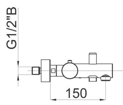 Смеситель с термостатом для ванны Herz t30 чертеж