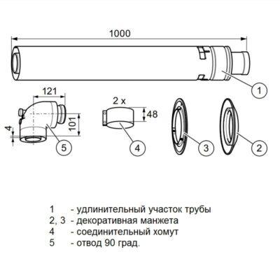 Коаксиальный горизонтальный комплект 60-100 turboTEC комплектация