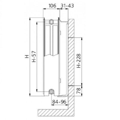 Плоский радиатор Brugman Compact 22 тип конструкция